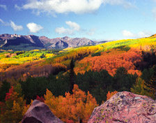 Fall colors and the Castles from the Ohio Pass Rd near Crested Butte, Colorado.