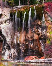 Waterfall and fall colors at Hanging Lake, CO