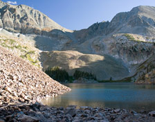 Lake Agnes and the Nokhu Crags in State Forest State Park, Colorado.